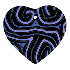 Blue abstract design Heart Ornament (2 Sides)
