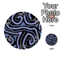 Blue abstract design Playing Cards 54 (Round)
