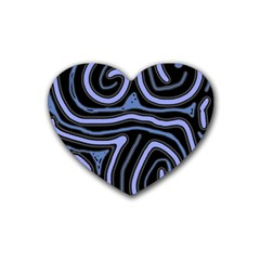 Blue abstract design Rubber Coaster (Heart)