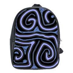 Blue abstract design School Bags(Large)