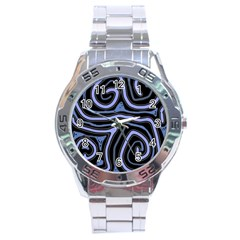 Blue abstract design Stainless Steel Analogue Watch