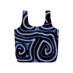 Blue abstract design Full Print Recycle Bags (S)
