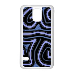 Blue abstract design Samsung Galaxy S5 Case (White)