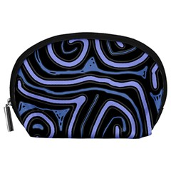 Blue abstract design Accessory Pouches (Large)