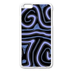 Blue abstract design Apple iPhone 6 Plus/6S Plus Enamel White Case