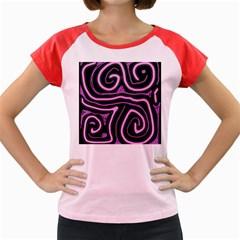 Purple neon lines Women s Cap Sleeve T-Shirt