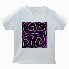 Purple neon lines Kids White T-Shirts