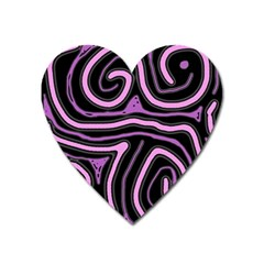 Purple neon lines Heart Magnet