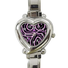Purple neon lines Heart Italian Charm Watch