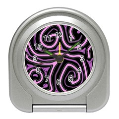Purple neon lines Travel Alarm Clocks
