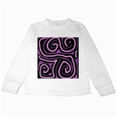 Purple neon lines Kids Long Sleeve T-Shirts