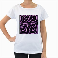 Purple neon lines Women s Loose-Fit T-Shirt (White)