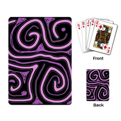 Purple neon lines Playing Card