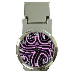 Purple neon lines Money Clip Watches