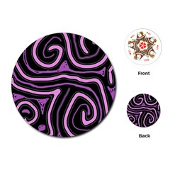 Purple neon lines Playing Cards (Round)