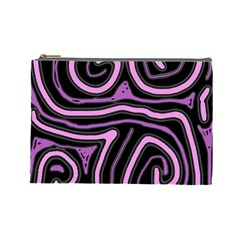 Purple neon lines Cosmetic Bag (Large)