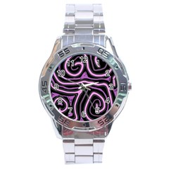 Purple neon lines Stainless Steel Analogue Watch
