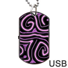 Purple neon lines Dog Tag USB Flash (Two Sides)