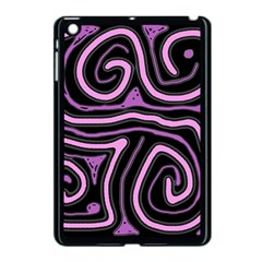 Purple neon lines Apple iPad Mini Case (Black)