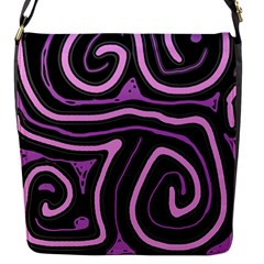 Purple neon lines Flap Messenger Bag (S)
