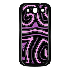 Purple neon lines Samsung Galaxy S3 Back Case (Black)
