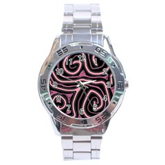 Decorative lines Stainless Steel Analogue Watch