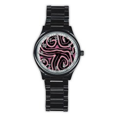 Decorative lines Stainless Steel Round Watch