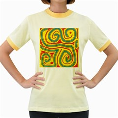 Colorful decorative lines Women s Fitted Ringer T-Shirts