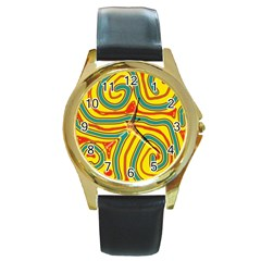 Colorful decorative lines Round Gold Metal Watch