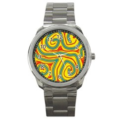 Colorful decorative lines Sport Metal Watch