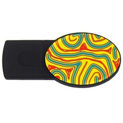 Colorful decorative lines USB Flash Drive Oval (4 GB)