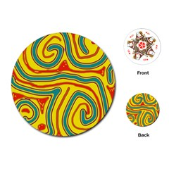 Colorful decorative lines Playing Cards (Round)