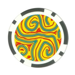 Colorful decorative lines Poker Chip Card Guards