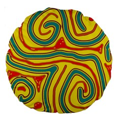 Colorful decorative lines Large 18  Premium Round Cushions