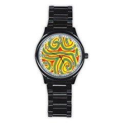 Colorful decorative lines Stainless Steel Round Watch