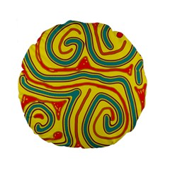 Colorful decorative lines Standard 15  Premium Flano Round Cushions