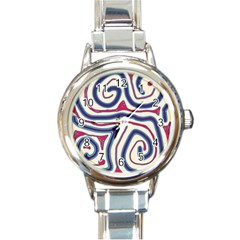 Blue And Red Lines Round Italian Charm Watch