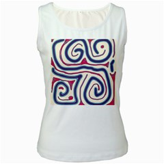 Blue and red lines Women s White Tank Top
