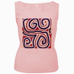 Blue And Red Lines Women s Pink Tank Top