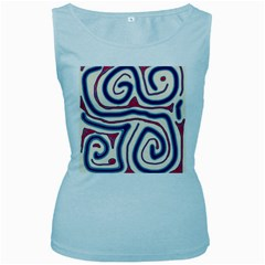 Blue and red lines Women s Baby Blue Tank Top