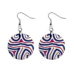 Blue and red lines Mini Button Earrings