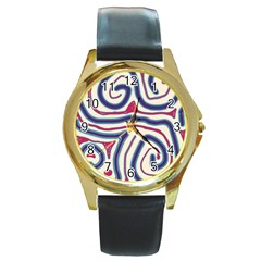 Blue and red lines Round Gold Metal Watch