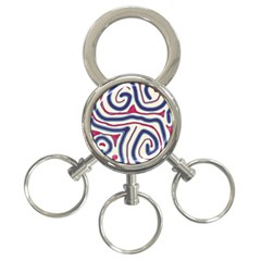 Blue and red lines 3-Ring Key Chains
