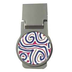 Blue and red lines Money Clips (Round)