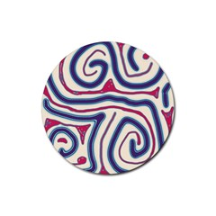 Blue and red lines Rubber Round Coaster (4 pack)