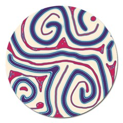Blue and red lines Magnet 5  (Round)