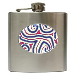 Blue and red lines Hip Flask (6 oz)