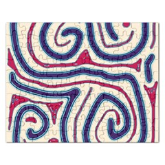Blue and red lines Rectangular Jigsaw Puzzl