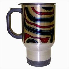 Blue and red lines Travel Mug (Silver Gray)