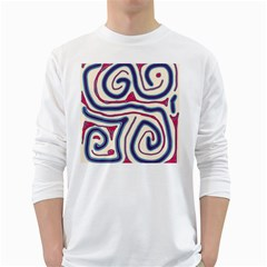 Blue and red lines White Long Sleeve T-Shirts